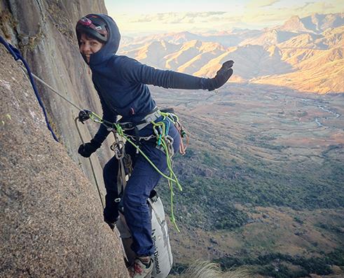 Alice Hafer climbing Sovadia 7C+
