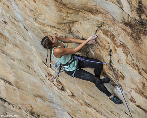 Climbing picture of MAXIM athlete Kerry Scott