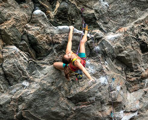 Climbing picture of MAXIM athlete Paige Claassen