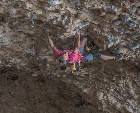 MAXIM athlete Randy Leavitt climbing Fun Pig
